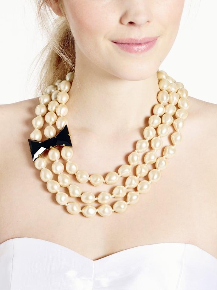 Kate Spade New York Black Tie Optional Three Strand Pearl