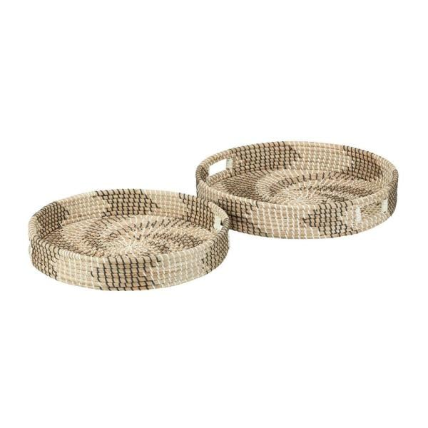 Home Decorators Collection Black, White and Natural Seagrass Decorative Round Trays