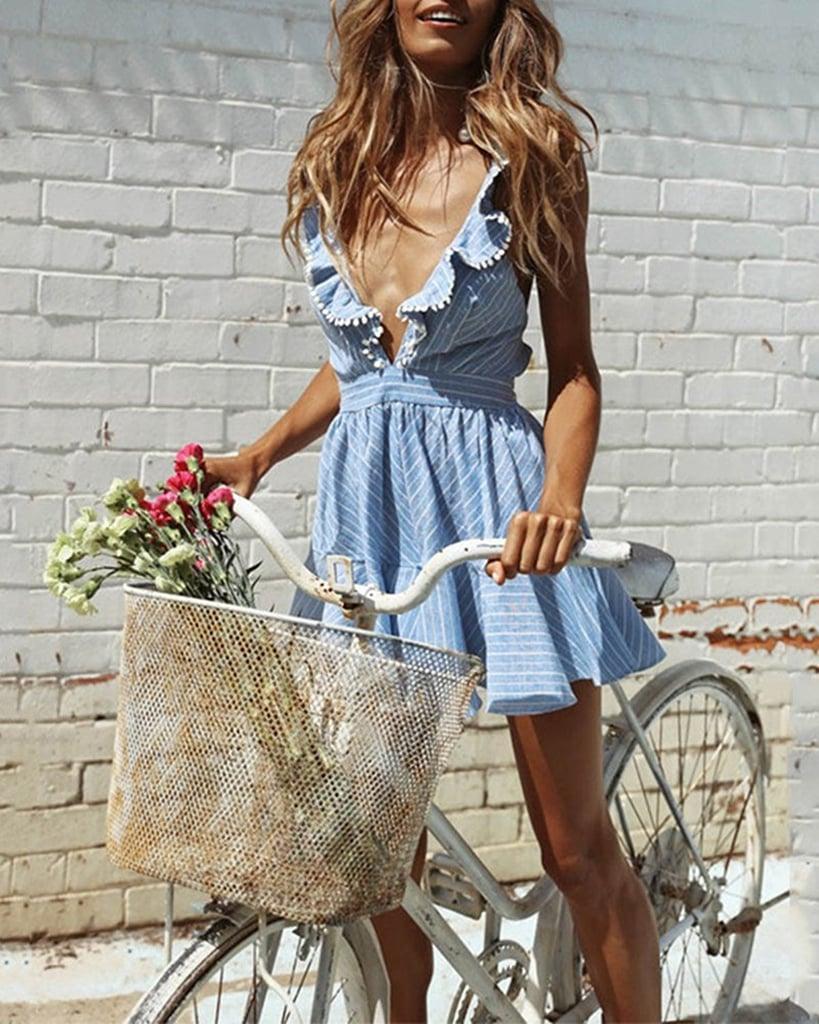 Pxmoda Striped Ruffle Dress