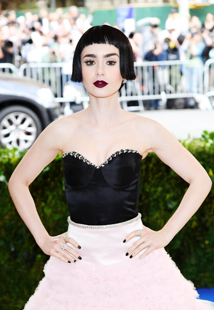 lily collins hair and makeup at the 2017 met gala