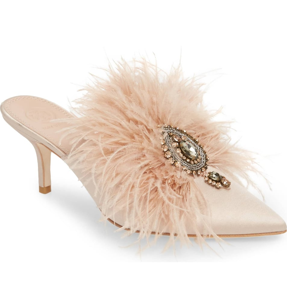 594c36c3f Tory Burch Elodie Embellished Feather Mule