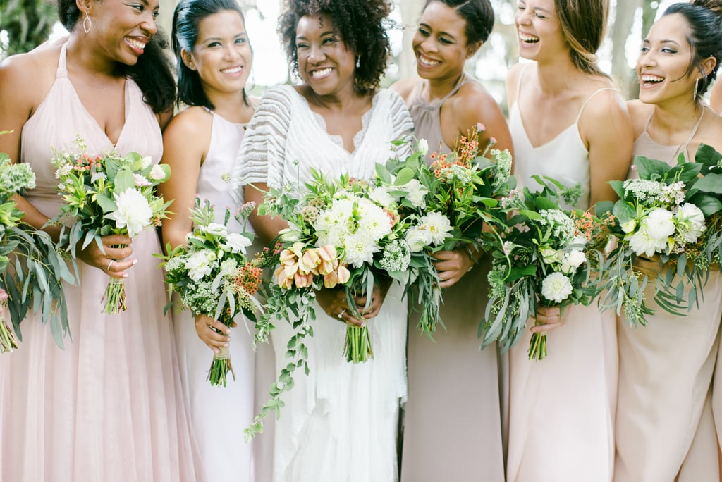 Real Bridesmaids In Beige Bridesmaid Dresses: This Bride Had Her Squad Dress In Pale Pinks, Off-white