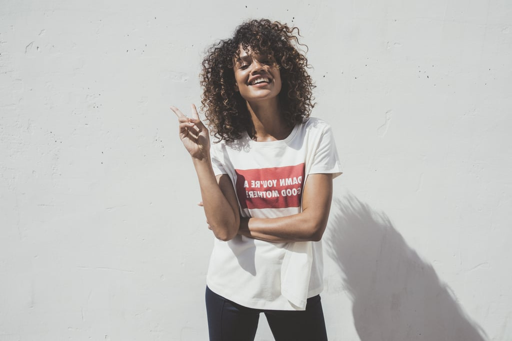 "Say hello to your new favorite basic tee! The brand Boob just released a new organic cotton shirt with an amazing message that any mom would be proud to wear. The shirt has ""Damn You're a Good Mother!"" written backward inside a red box in white letters. It was purposely done that way so all a mom has to do is look in the mirror and see it the right way for a small reminder that she is indeed a damn good mother. It's also been ""momified,"" because the front panel can be lifted to reveal a hole you can use to nurse your baby. The shirt is on sale for $69, with five percent of all sales going to the charity Every Mother Counts. It comes in four different colors and five different sizes, but the white one is the only one with the message printed across the chest. Get your wallets, because this shirt is the jack-of-all-trades one that moms need in their lives.      Related:                                                                                                           The Most Instagrammable and Gift-Worthy Tees For Moms"