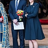 For the Commonwealth Day Service in March, Kate rocked head-to-toe blue for the Commonwealth Day Service in March. She wore a navy Beulah London coat, a Lock & Co. hat, and she matched Meghan Markle's blue Manolo Blahnik heels with her own pair from Rupert Sanderson. Her clutch was from Jimmy Choo.