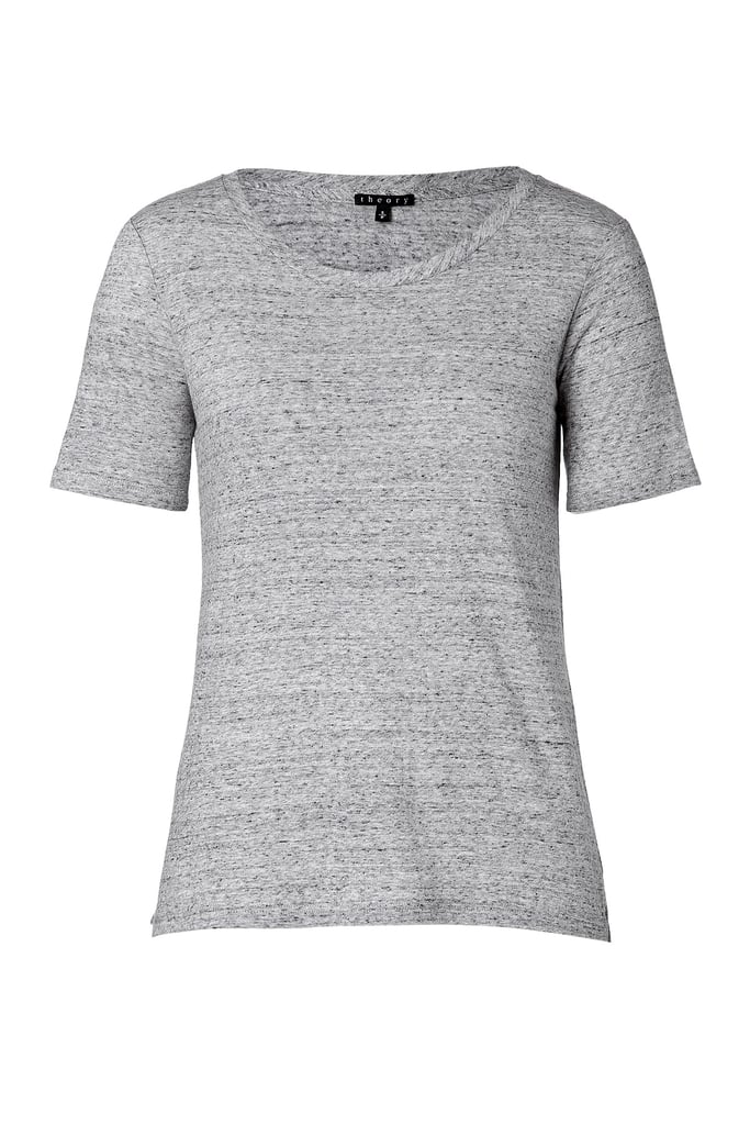 We love our flimsy tees, but there's something to be said for more substantial styles, too. Theory makes a marled cotton-wool combination ($110) that is worth buying now and storing for Fall.