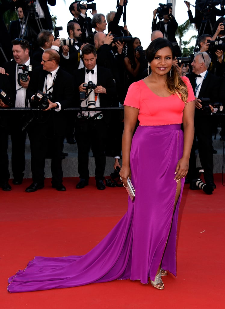 Mindy brightened up the Cannes red carpet in a berry-hued Salvador Perez two-piece in 2015.