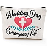Blue Leaves Wedding Day Emergency Kit Makeup Bag