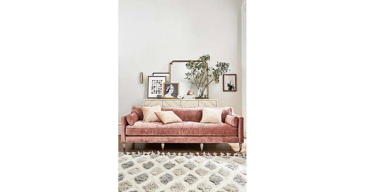 Anthropologie slub velvet leonelle sofa millennial pink for Home decorating like anthropologie