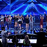 Elmblem3, Fifth Harmony, Khloe Kardashian, Mario Lopez, Carly Rose Sonenclar, and Tate Stevens waved at the X Factor semifinals.