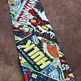 "<a href=""https://www.etsy.com/listing/174085289/marvel-comics-neck-tie"">Marvel Comic-Book Covers Tie</a> ($33)"