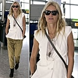 While traveling through London's Heathrow Airport, Gwyneth Paltrow managed to look chic up top and cool on bottom by pairing a sleek, white vest and a white tee with baggy olive khakis. Shop similar pieces now.