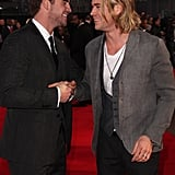 The handsome brothers shared a laugh on the red carpet during the European premiere of The Hunger games in London in March 2012.