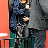 Beyoncé Knowles left lunch with Blue Ivy Carter in her arms.