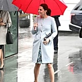 Kate arrived at Kings College in Jan. wearing a powder blue Sèraphine coat and a floral Florrie dress from the label. She accessorized with a quilted Jaeger clutch and Jimmy Choo pumps.