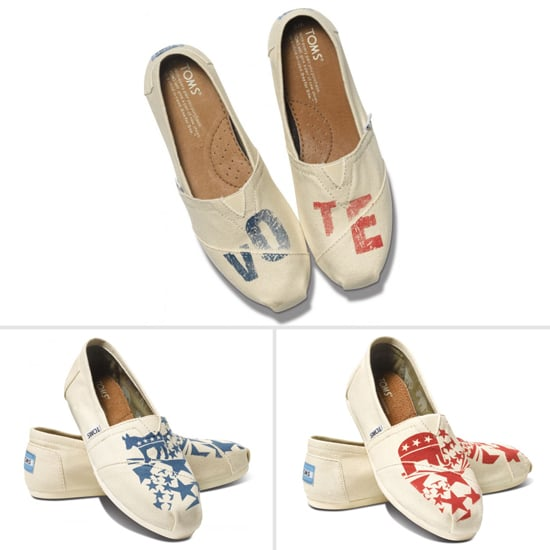 Do good and sport red and blue with the Vote 2012 Toms, the Democrat Toms, or the Republican Toms ($58 per pair).