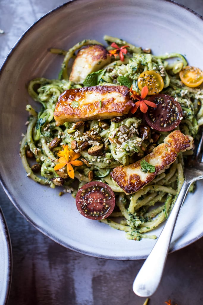 Green Goddess Courgette Pasta With Fried Halloumi