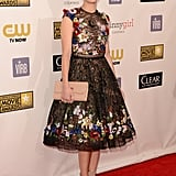 Marion Cotillard's fit-and-flare Zuhair Murad dress got its statement power from multicolor floral appliqué accents.
