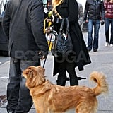 Blake Lively filming Gossip Girl in NYC.