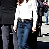 Kate styled her flared denim with a cowboy hat, suede boots, and a leather belt to attend the Calgary Stampede in Canada.
