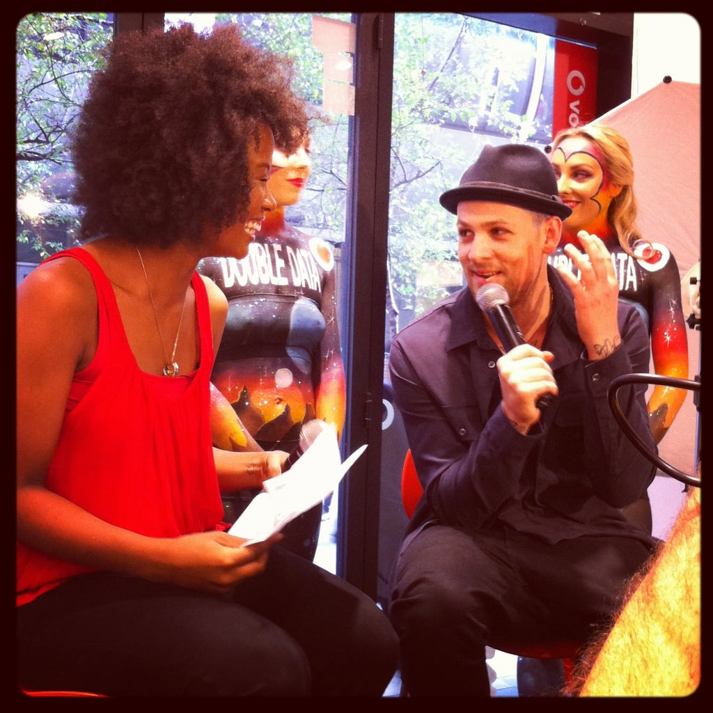 We snapped The Voice's Faustina and Joel Madden while they helped launch Samsung's new Galaxy phone at the Vodafone store in Sydney.