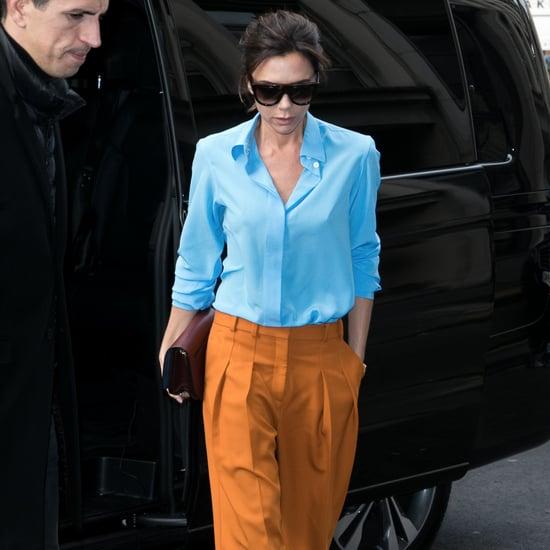 Victoria Beckham Orange and Blue Outfit Jan. 2017