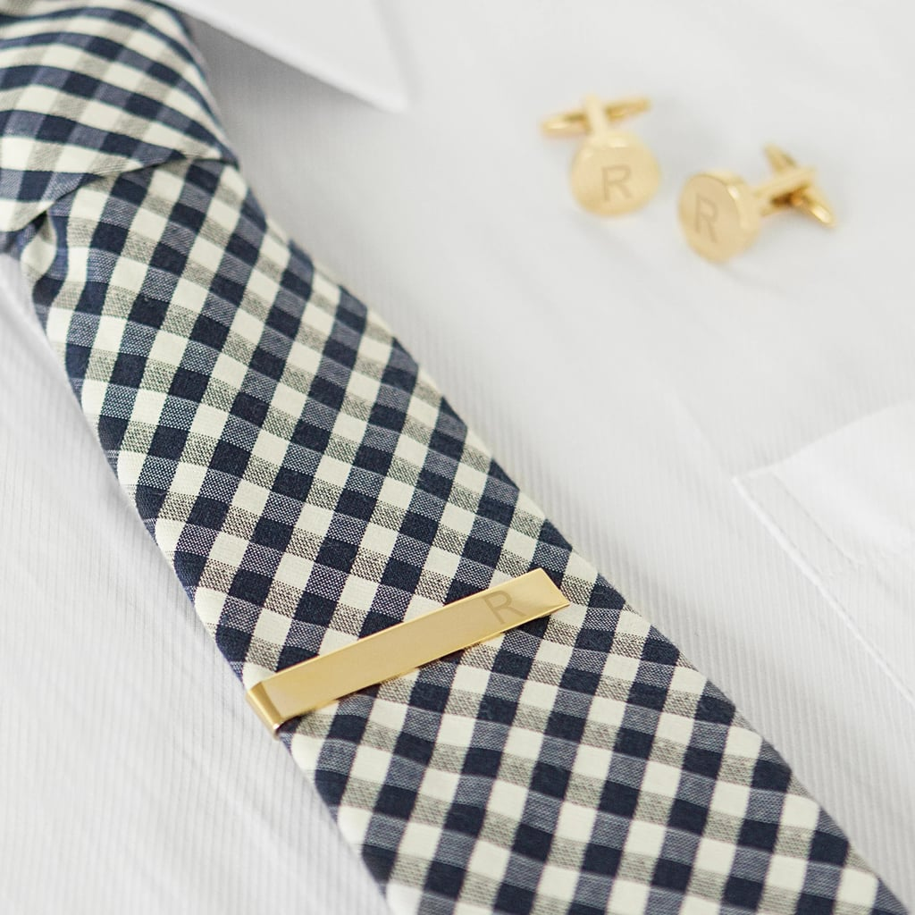 Cathy's Concept Gold Round Cuff Link And Tie Clip Set