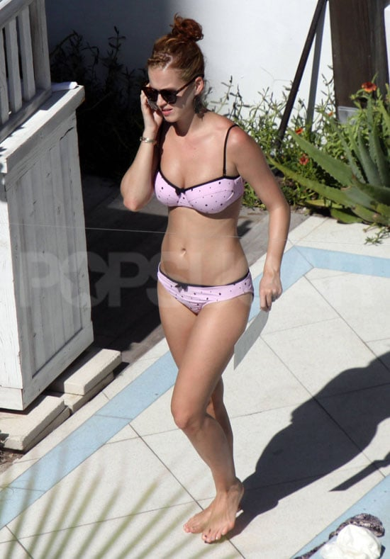 Katy Perry wore a pink polka-dot bikini.