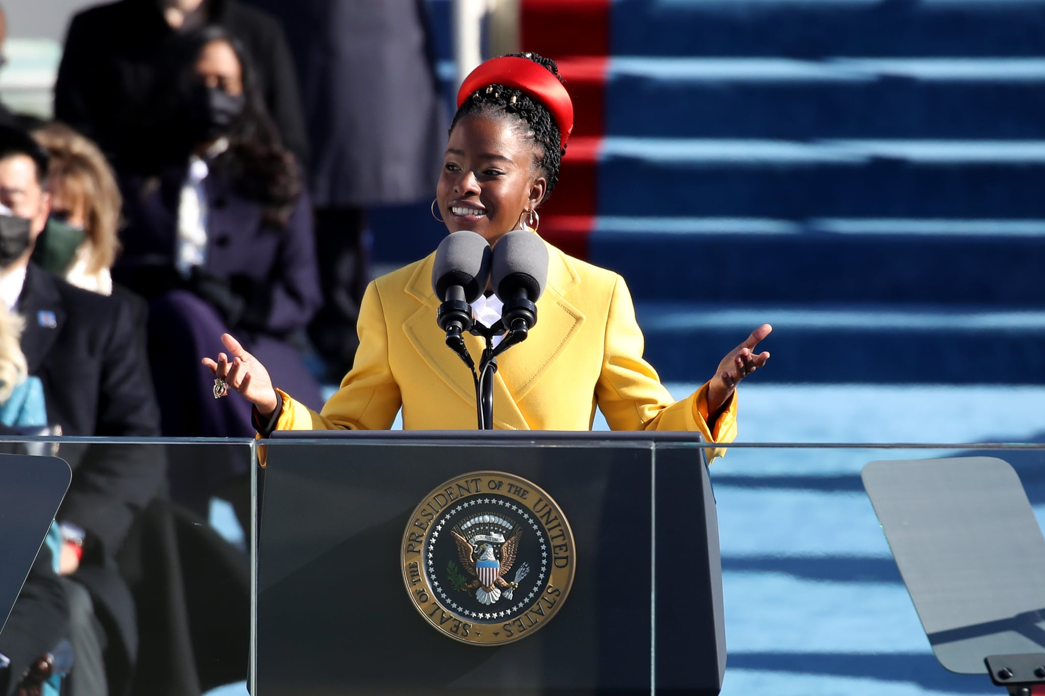 WASHINGTON, DC - JANUARY 20: Youth Poet Laureate Amanda Gorman speaks during the inauguration of U.S. President-elect Joe Biden on the West Front of the U.S. Capitol on January 20, 2021 in Washington, DC. During today's inauguration ceremony Joe Biden becomes the 46th president of the United States. (Photo by Rob Carr/Getty Images)