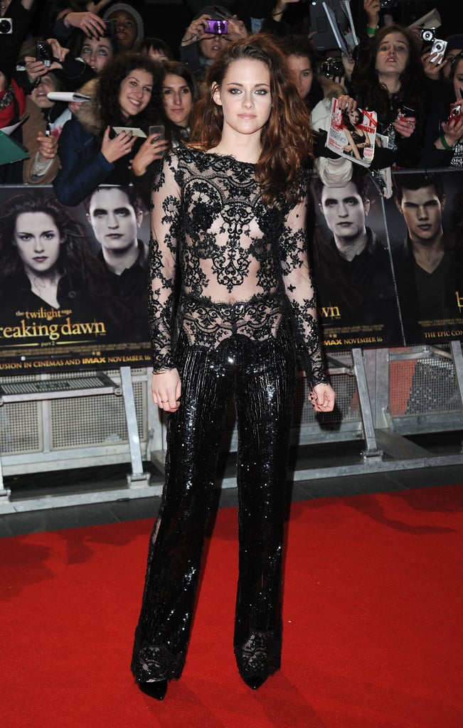Kristen took another black lace turn at the UK premiere of Breaking Dawn Part 2 in November, wearing a jazzy sequined jumpsuit by Zuhair Murad.