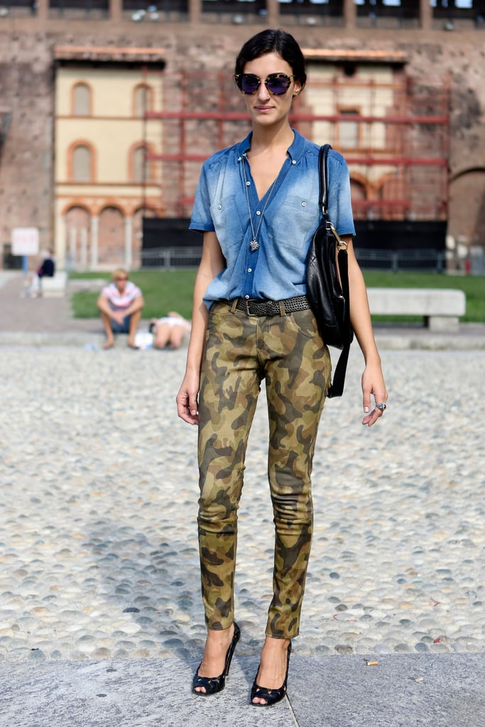 Abstract camo and a faded denim topper were an unconventionally cool pair.
