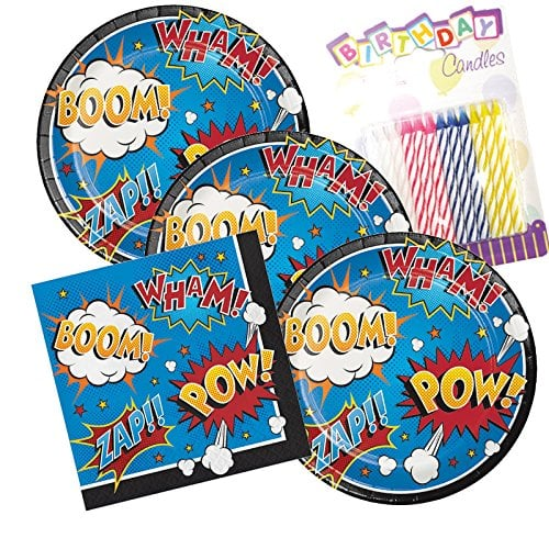 Super Hero Slogans Theme Plates and Napkins | Cheap Party Supplies ...