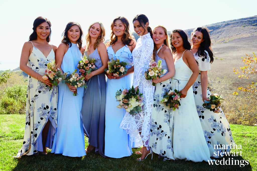 Jamie wearing her Jonathan Simkhai dress, posing for photos with her bridesmaids, who wore Privacy Please maxis.