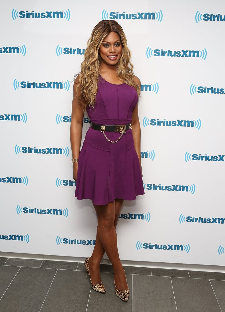 The actress didn't shy away from a bold plum hue or a pair of printed pumps for an appearance at Sirius Radio in June 2014.