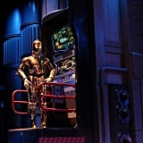 C-3P0's hilarious musings you hear in line for Star Tours.