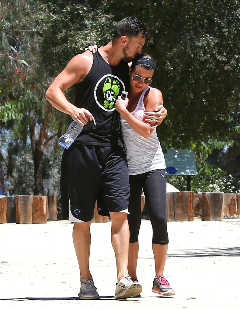 Lea Michele and her boyfriend, Matthew Paetz, showed serious PDA when they went for a walk in LA on Tuesday. The couple held hands during their hike and were even snuggling and kissing at one point. This is hardly the first time that Lea and Matthew have shown PDA during a workout — on Sunday they created a similar scene while going on a group walk with friends. Lea has yet to share any snaps of Matthew on social media, but he did act as her photographer when she posed for a photo to post on her Twitter account during the couple's Tuesday hike.
