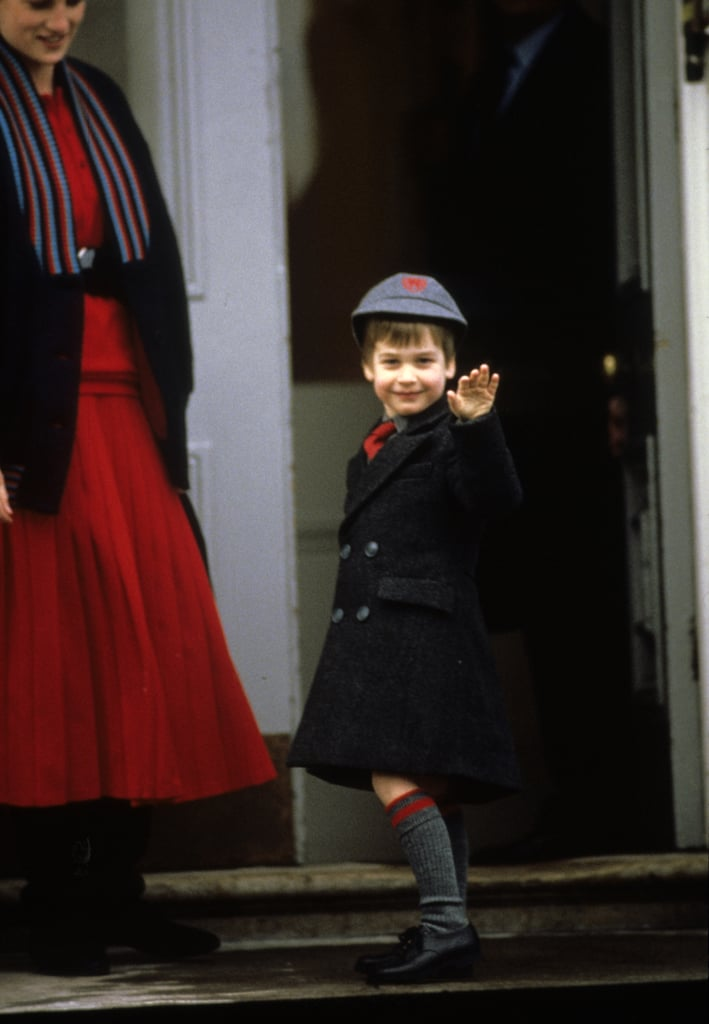 Prince William waved on his first day at Wetherby School in January 1987 in London.
