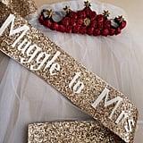 Muggle to Mrs. Gold Glitter Sash and Veil Set