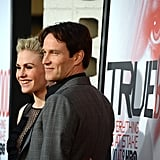 Stephen Moyer and Anna Paquin couldn't hold back their smiles as the soon-to-be parents posed together.