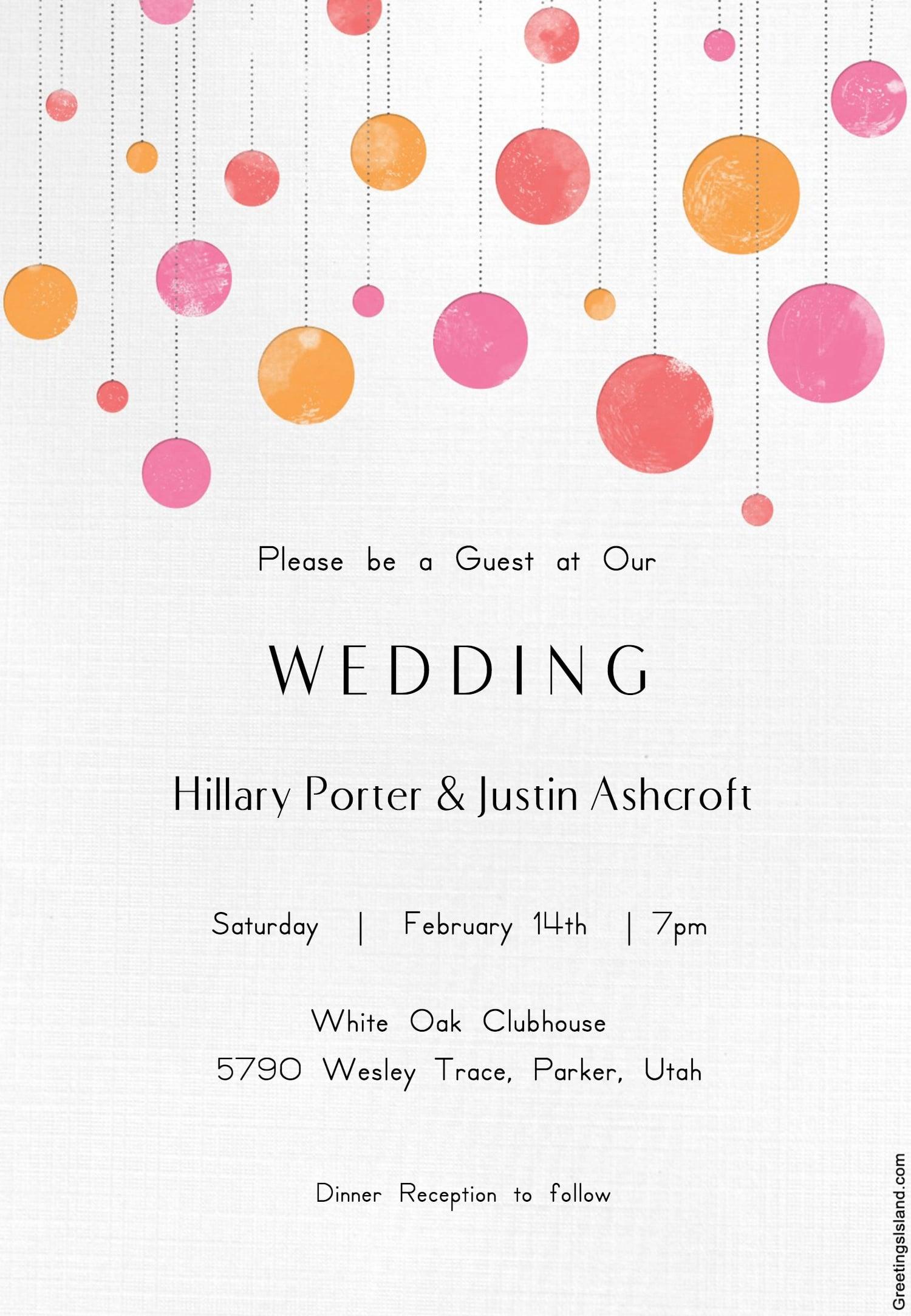 Suspended Circles Wedding Invitation