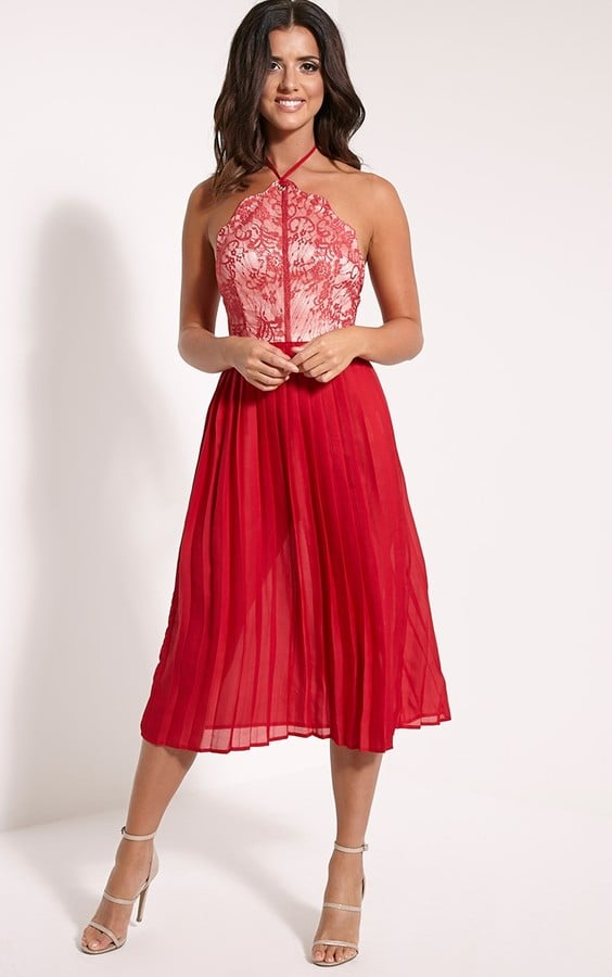 PrettyLittleThing Cristabel Red Lace Halterneck Pleated Midi Dress (£25) 32448a313