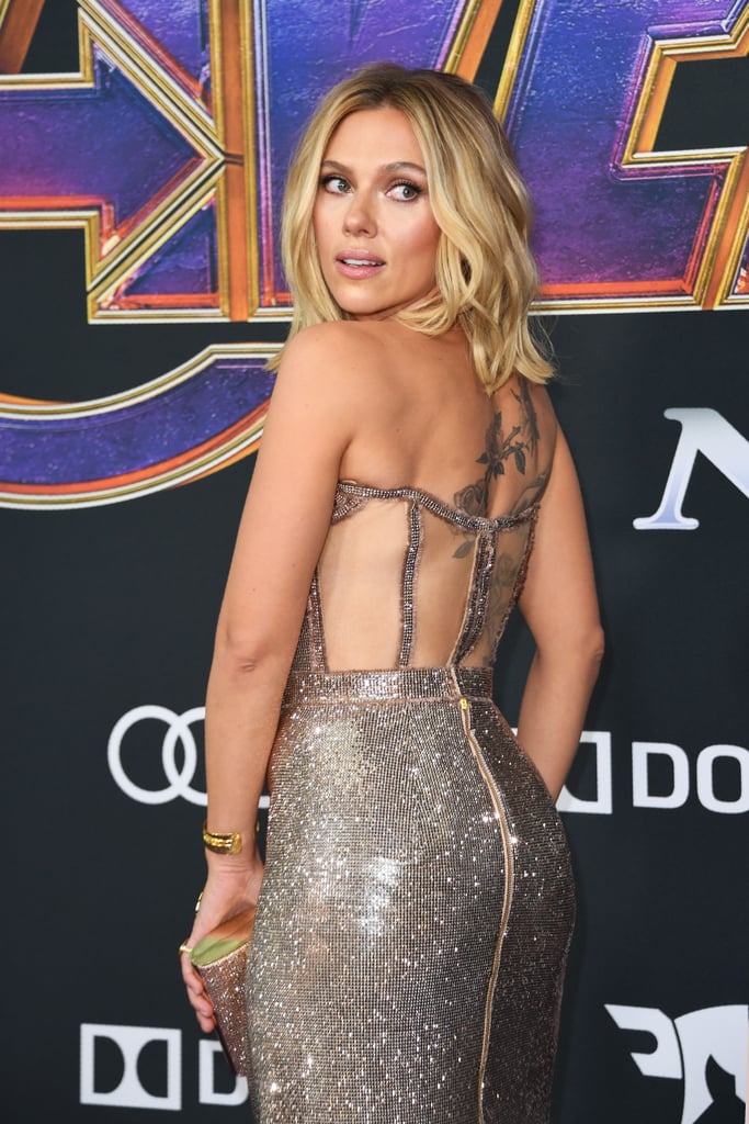 Scarlett Johansson Silver Dress At Avengers Endgame Premiere Popsugar Fashion