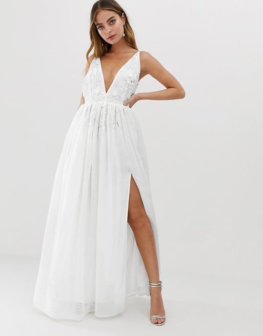 Dolly & Delicious Petite Applique Embellished Plunge Front Maxi Dress