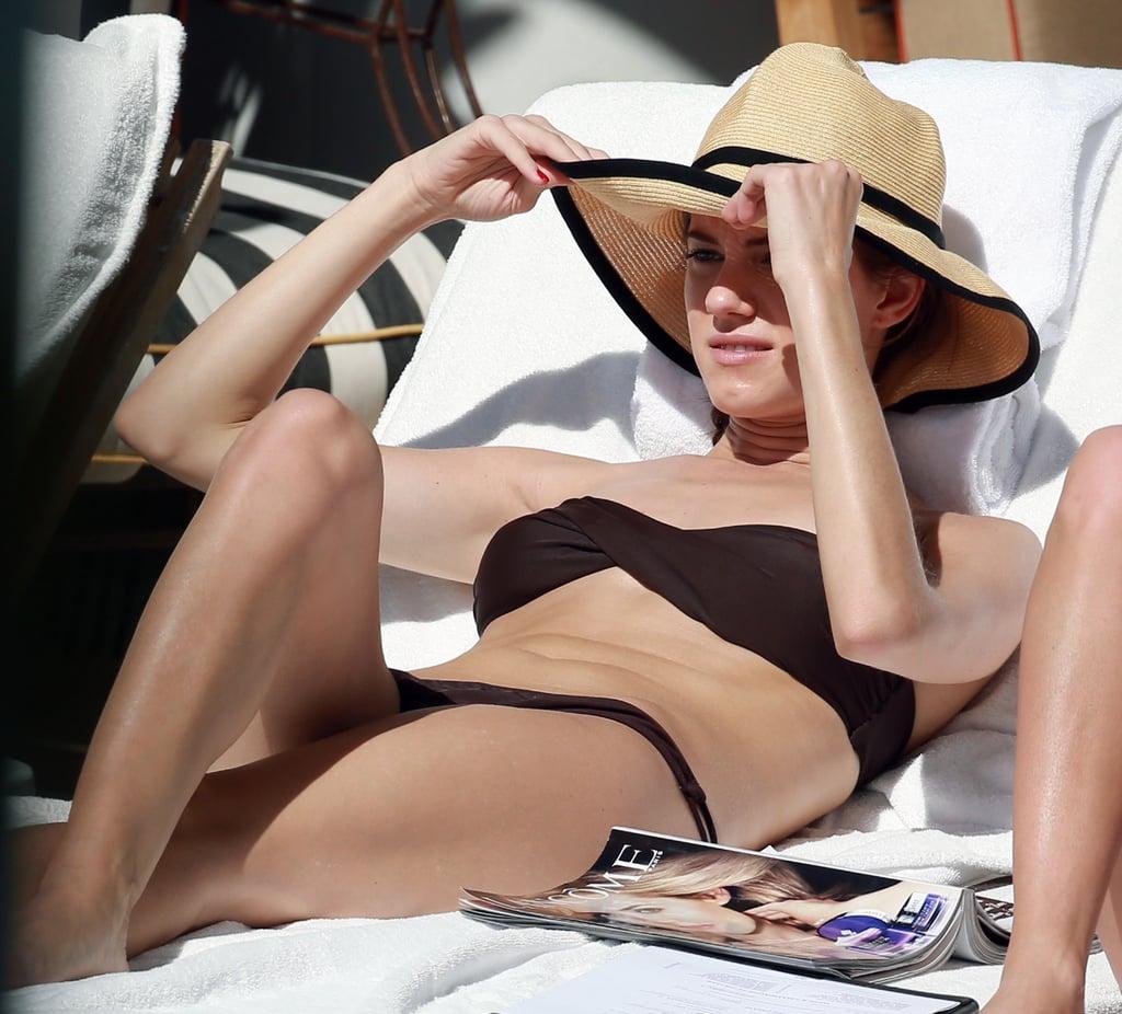 Allison Williams wore a brown bikini during a February 2013 trip to Miami.