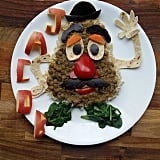Mr. Potato Head lentils with carrot and spinach.