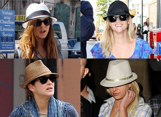 Lindsay Lohan, Britney Spears, Reese Witherspoon, and Marion Cotillard in Fedoras