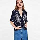 Zara Shirt With Contrasting Embroidery