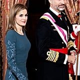Queen Letizia and King Felipe VI of Spain attended the New Year's military parade ceremony at the royal palace in January.