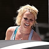 Britney Spears smiled while leaving the rehearsal studio.