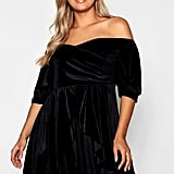 Boohoo Plus Bardot Ruffle Velvet Skater Dress