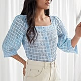 & Other Stories Plaid Puff Sleeve Blouse